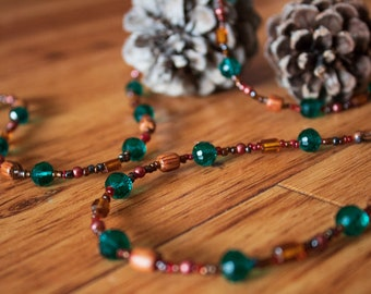 JUNIPER - Long Wrap Necklace - Emerald and Amber Glass Beaded Necklace