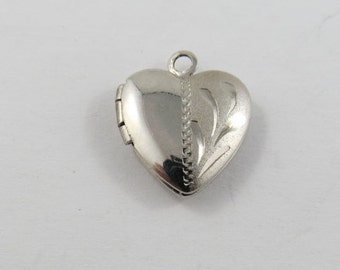 Mechanical Heart Locket Fastens Well Sterling Silver Pendant or Charm.