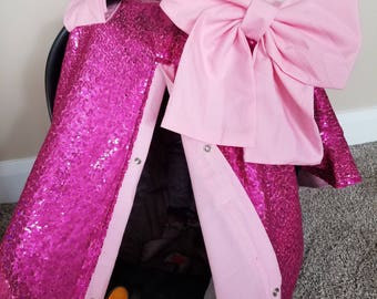 Carseat Canopy Carseat Cover Elegant Shocking Sequin Pink with Large bow nursing cover car seat canopy car seat cover