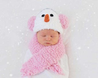 Snowman/girl photo set