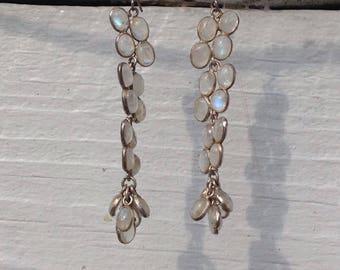 Sterling Silver Dangling Opal Drop Earrings