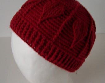 Red Beanie Hat with Hearts