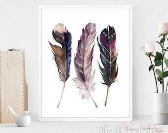 Three Feathers Set Printable, Tribal Printable, Feather Wall Print, Bird Wall Art, Feather Print, Home Wall Decor, Boho Print