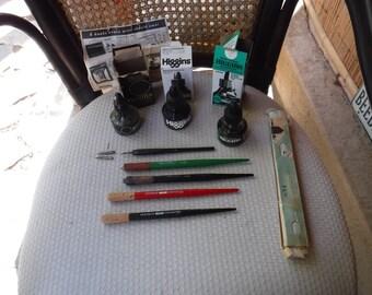 Vintage lot of writing items Gestetner LP1 LGS1 5 dip ink pens nibs Eagle & Higgins bottles x 3
