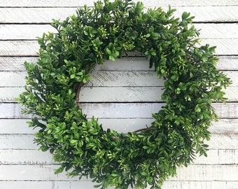 Boxwood wreath, Faux Boxwood, Greenery, Grapevine Wreath, Farmhouse Wreath, Spring Wreath, Summer Wreath, Year Round Wreath