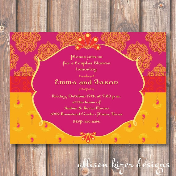 Hot Pink And Yellow Morocco Bridal Shower Printable Invitation
