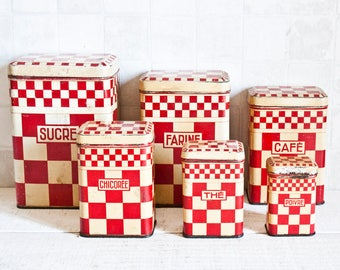 RARE Set of 6 gorgeous French store boxes - Red Checkerboard Lithographed decorative tin - Retro kitchen metal canister