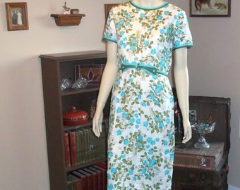 """Liberty of London 50's Dress Excellent condition size M ,Med,Medium 38"""" Wiggle,Pin Up,VTG Cotton 100% Linen Designer Fabric"""