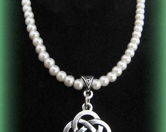 Silver Celtic Knot & Swarovski Pearl Necklace