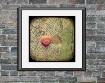 Map art print marry me Fordham University NYC new york city Bronx candy heart custom engagement wedding anniversary gift wall decor