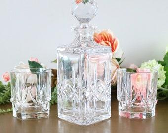 Vintage Crystal Decanter Set With 2 Rocks Glasses, Whiskey Decanter Set, Bourbon Decanter, Old Fashion Glasses, Home Barware, Gift For Him