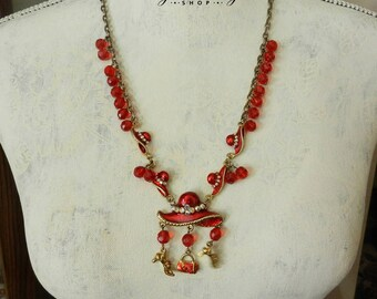 Vintage Red Hat Society Glass Bead Charm Necklace