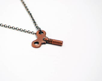 Winding Key Necklace in Antique Copper - Copper Winding Key, Copper Key Necklace, Clock Key Necklace, Toy Key Necklace, Steampunk Necklace