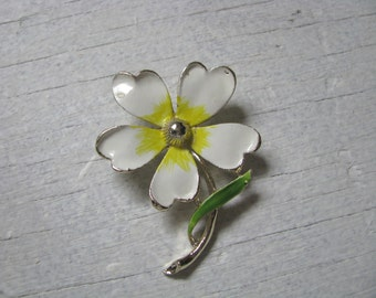 Sunny vintage white enamel flower brooch pin with yellow center by Gerrys