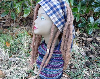 brown dreadlock wig with scarf / brown partial dreadLock headband wig / thick brown natural dreadlock partial wig headband with scarf