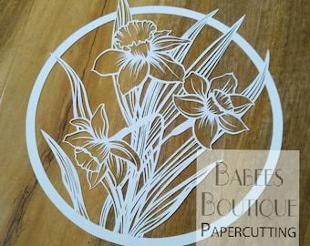 Daffodil Papercutting Template | by Babees Boutique Papercutting | floral template | Personal & Commercial use