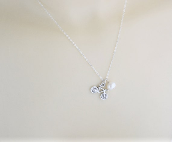 Bicycle necklace bicycle charm bicycle pendant cycling like this item aloadofball Image collections
