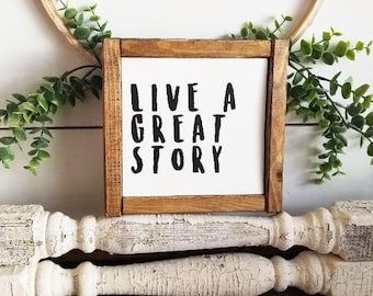 Live A Great Story   Farmhouse Sign   Farmhouse Decor   Rustic Sign   Rustic Decor   Modern Farmhouse   Gallery Wall Sign   Gallery Wall