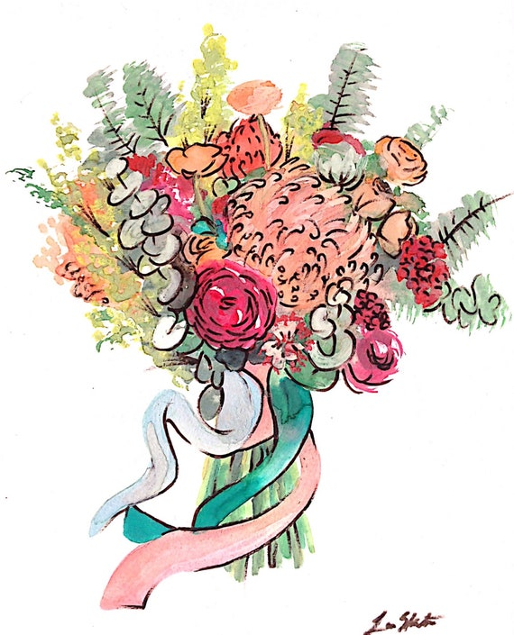 custom bouquet watercolor FREE SHIPPING // flower drawing //