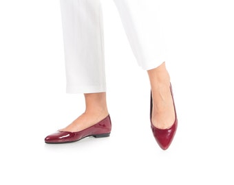 Final Sale 35% Off - Red Leather Shoes,Patent Leather Flats, Minimalistic Design Shoes, Ballerina Shoes, Pointy Toe Shoes, Womens Flat Shoes
