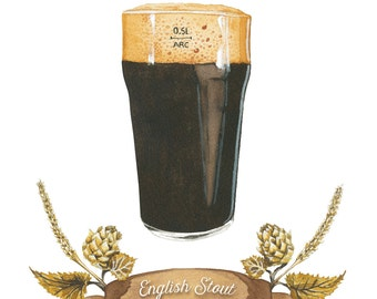Englischen Stout Bier Aquarell Illustration