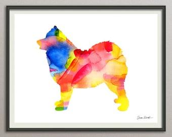samoyed dog art print watercolor print poster painting wall art silhouette , dog wall art