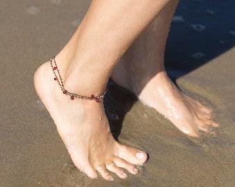 Red Garnet Drops Bracelet or Anklet