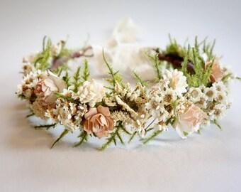 Bridal Flower Crown, Blush Wedding, Dried Flower Crown, Flower Crown, Mommy & Me Crown, Headdress, Boho Wedding, Head Wreath, DUSTY ROSE