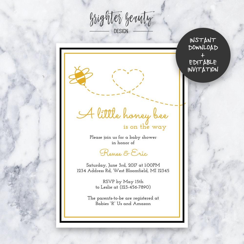 Honey Bee Baby Shower Invitation   INSTANT DOWNLOAD   Editable PDF ...