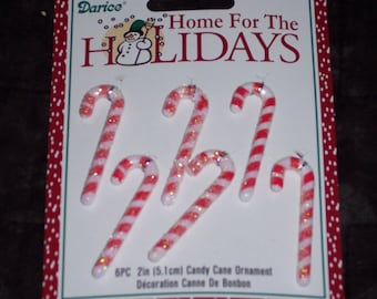 2 inch candy canes,glittered,red and white,6/pkg,Holiday Christmas craft pieces,mini ornaments,crafts,embellishment