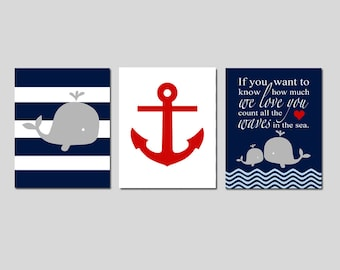 Whale Nursery Art Whale Nursery Decor Anchor Nursery Art Anchor Nursery Decor Nautical Nursery Art Boy Nautical Nursery Art Set of 3 Prints