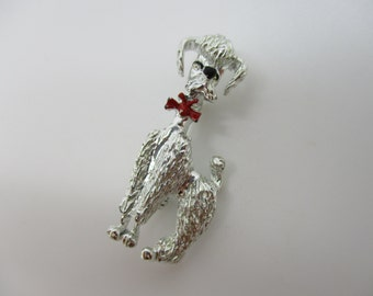 Silver Tone Poodle with Red Enamel Bow Brooch/Pin