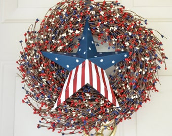 Red White Blue Berry wreath Patriotic Barn Star 4th of July Wreath Memorial Day Wreath Americana decor Front door decoration Summer Wreath