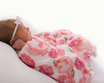 Organic cotton swaddle blanket in Watercolor Floral, Roses, Peonies with Pink and Blush Flowers