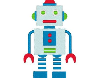 Robot Machine Embroidery Design Children's Embroidery Designs Filled Stitch Instant Download