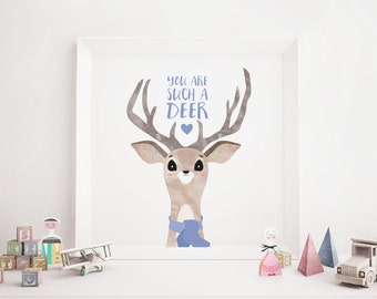 Girl Deer Art Print