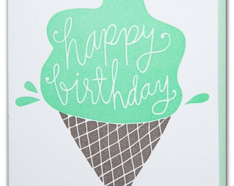Happy Birthday letterpress printed card