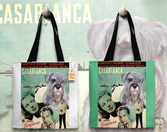 Schnauzer Art Tote Bag - Casablanca Movie Poster   Perfect DOG LOVER Gift for Her Gift for Him