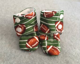 Gender Neutral Football Stay-On Baby Booties