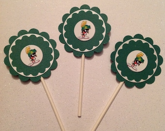 Marvin the Martian Cupcake Toppers - Marvin the Martian - Marvin Cupcake Toppers- Marvin Party Decor - Marvin Birthday Party - Marvin Decor