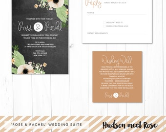 Printable - The 'Ross & Rachel' Floral Chalkboard | Kraft Wedding Suite | Invitation | RSVP | Wishing Well | Rustic