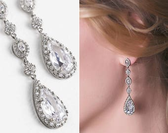 White Gold Earrings Wedding Jewelry Teardrop Earrings Long Earrings Bridal Accessories Crystal Earrings Drop Earrings Silver Earrings E146-S