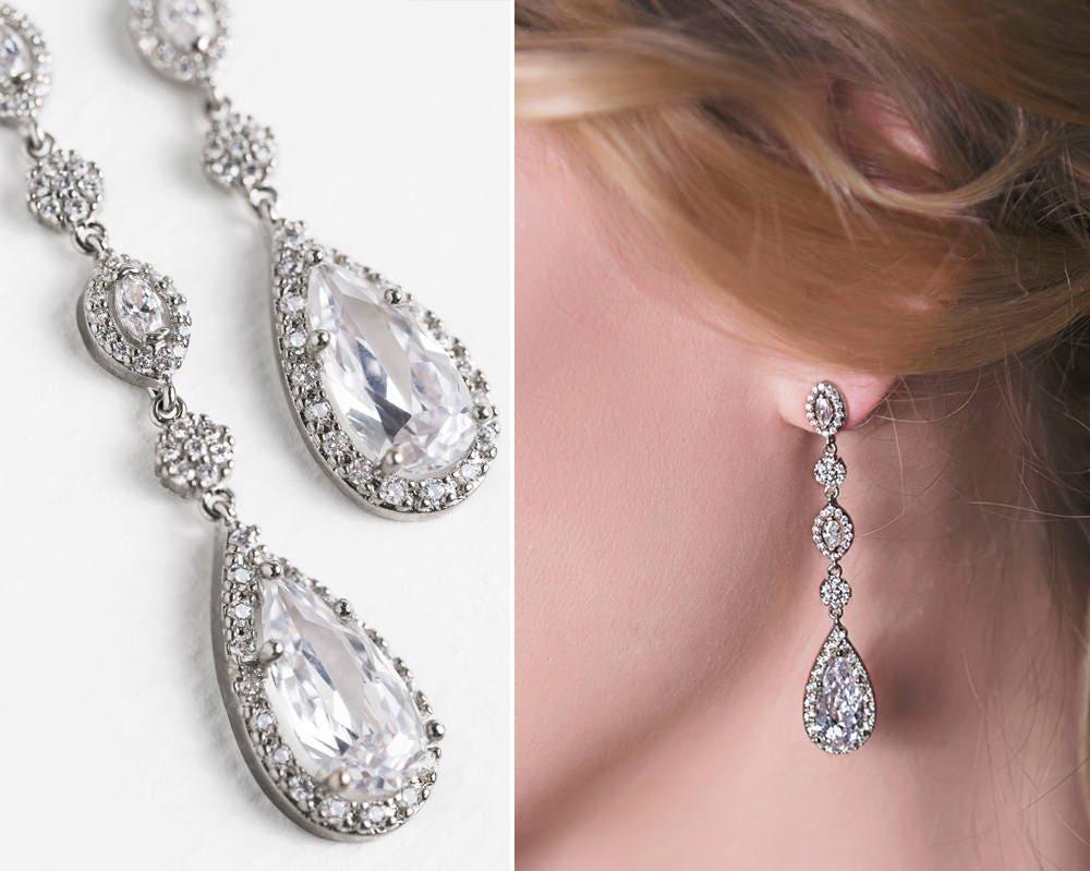 Teardrop Bridal Earrings Swarovski Crystal Long Drops Silver
