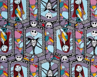 Nightmare Before Christmas Jack Skellington & Sally Stained Glass fabric, Disney fabric, Jack Skellington fabric, cartoon fabric, Halloween