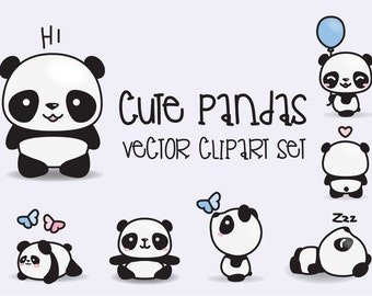 Premium Vector Clipart - Kawaii Pandas - Cute Pandas Clipart Set - High Quality Vectors - Instant Download - Kawaii Clipart