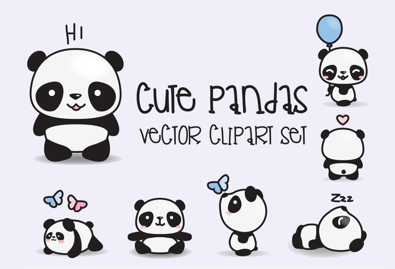 premium vector clipart kawaii pandas cute pandas clipart rh etsy com vector clipart crown vector clipart flowers