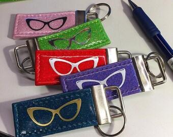 Glitter Cat Eyeglass Keychain • Sparkle Retro Vinyl • Metal Flake Psychobilly Key chain • Key Fob • Made in Texas USA • Cat Eye