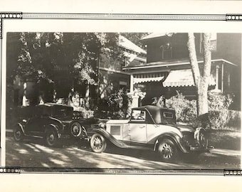 vintage photo snapshot Buick 2 Tone Coupe by the House Here They Are together 2 Ole Pals