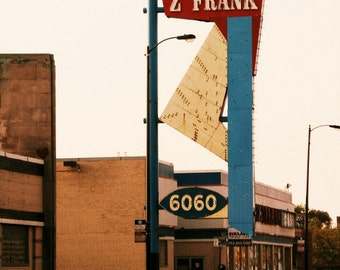 """Chicago Photography, mid-century vintage neon sign, Chicago Photo, Rogers Park, """"Z FRANK"""", used cars, red blue, atomic, arrow, geometric"""