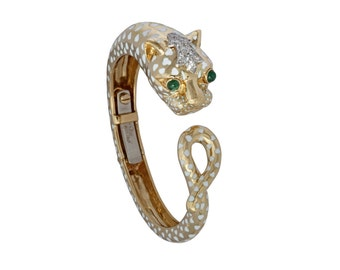 David Webb Panther bangle bracelet 18kt gold, platinum, diamonds, emeralds, and enamel with custom earrings